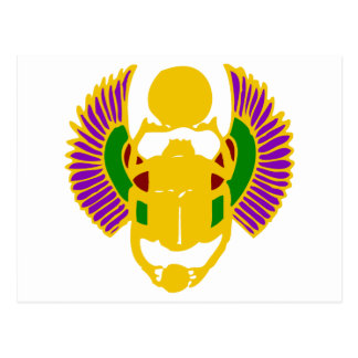 winged scarab beetle Egyptian design-gold & white Postcard
