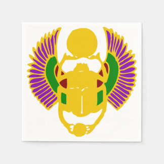 winged scarab beetle Egyptian design party Napkin