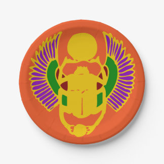winged scarab beetle Egyptian design party Paper Plate