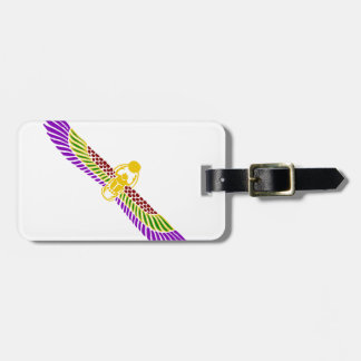 winged scarab beetle Egyptian - gold & white Tag For Luggage