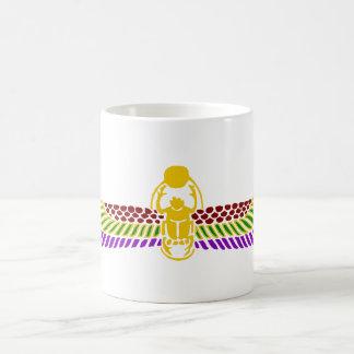 winged scarab beetle Egyptian mug -gold & white