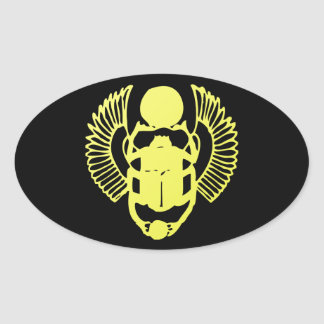 Winged Scarab Oval Stickers