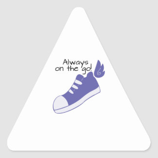 Winged Shoes Always on the Go! Triangle Sticker