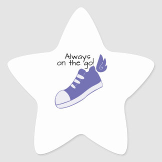 Winged Shoes Always on the Go! Star Sticker