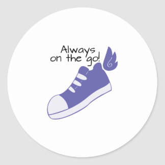 Winged Shoes Always on the Go! Classic Round Sticker