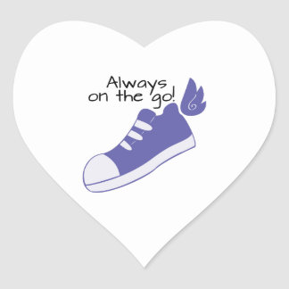 Winged Shoes Always on the Go! Heart Sticker