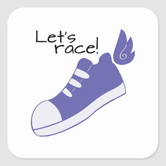 Winged Shoes Lets Race! Square Sticker