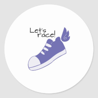 Winged Shoes Lets Race! Classic Round Sticker