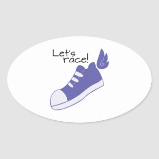 Winged Shoes Lets Race! Oval Sticker