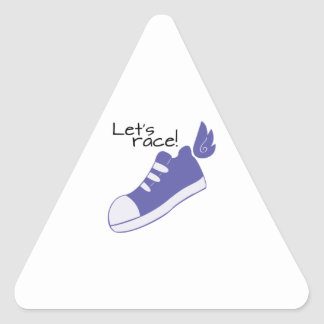 Winged Shoes Lets Race! Triangle Sticker