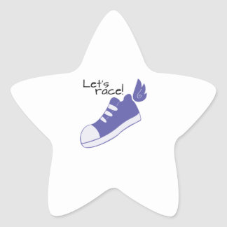 Winged Shoes Lets Race! Star Sticker