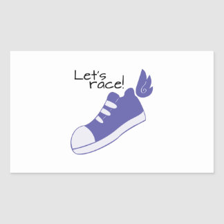 Winged Shoes Lets Race! Rectangular Sticker