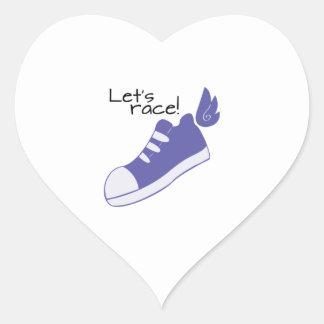 Winged Shoes Lets Race! Heart Sticker