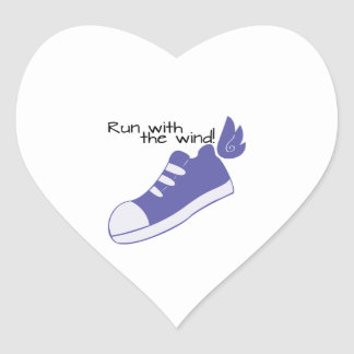 Winged Shoes Run with the Wind! Heart Sticker