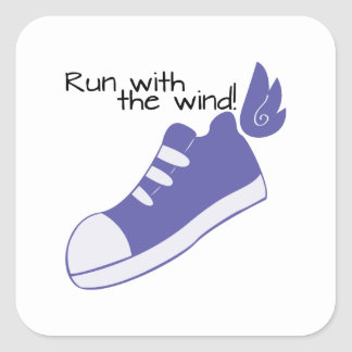 Winged Shoes Run with the Wind! Square Sticker