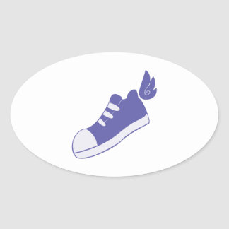 Winged Shoes Oval Sticker