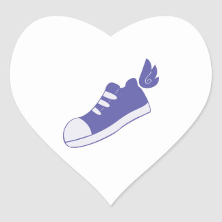 Winged Shoes Heart Sticker