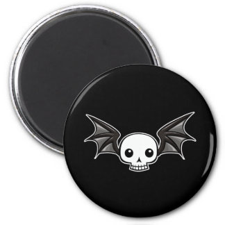 Winged skull 2 inch round magnet