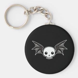 Winged skull basic round button keychain