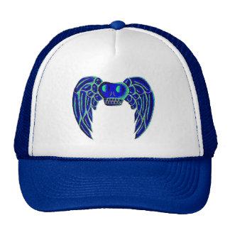 winged skull blue-green hat