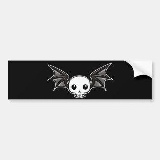 Winged skull bumper sticker