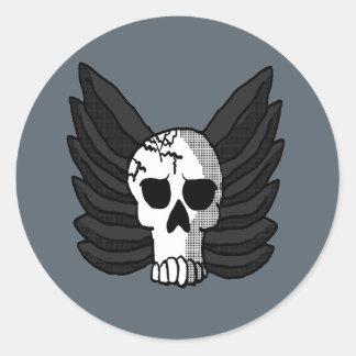 Winged Skull Classic Round Sticker