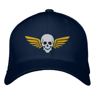 Winged Skull Embroidered Hat
