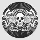 Winged Skull Gothic Stickers (Black & Grey)