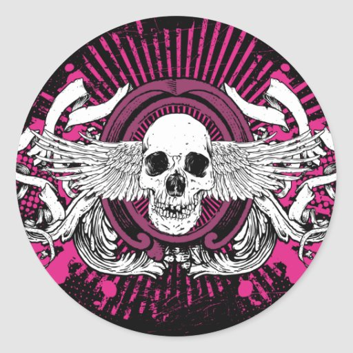 Winged Skull Gothic Stickers (Black & PInk)
