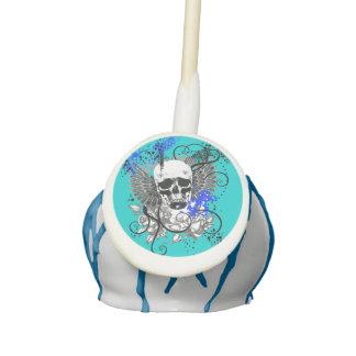 Winged Skull Grunge | black white blue Cake Pops