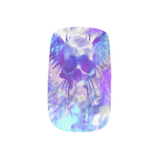 Winged Skull Grunge Goth Art Blue Nails Minx® Nail Art
