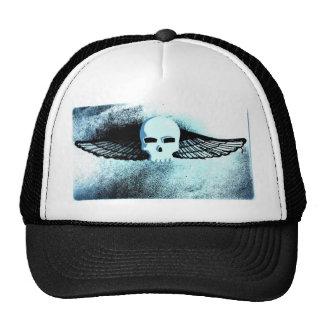 WINGED SKULL IN FLIGHT PRINT in blue tint Trucker Hat