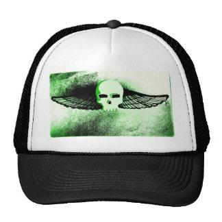 WINGED SKULL IN FLIGHT PRINT in green tint Trucker Hat