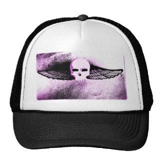 WINGED SKULL IN FLIGHT PRINT in purple tint Trucker Hat
