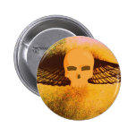 WINGED SKULL IN FLIGHT PRINT (PINK AND GOLD) PINBACK BUTTONS
