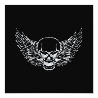 "Winged Skull 5.25"" Square Invitation Card"