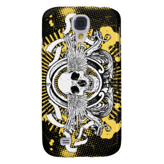 Winged Skull iPhone 3G Case (Black and Yellow) Samsung Galaxy S4 Cases
