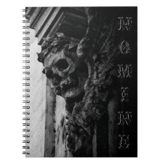 WINGED SKULL Macabre Facade Custom Name Notebook