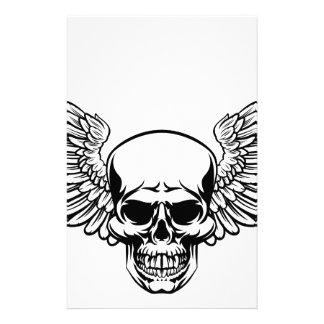 Winged Skull Vintage Engraved Woodcut Style Stationery