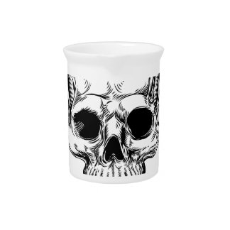 Winged Skull Vintage Retro Woodcut Style Drink Pitcher