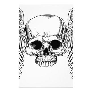Winged Skull Vintage Retro Woodcut Style Stationery