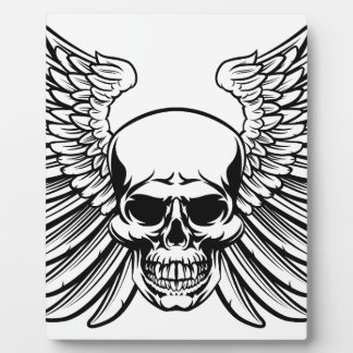 Winged Skull Vintage Woodcut Engraved Style Plaque