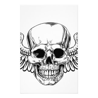 Winged Skull Vintage Woodcut Etched Style Stationery