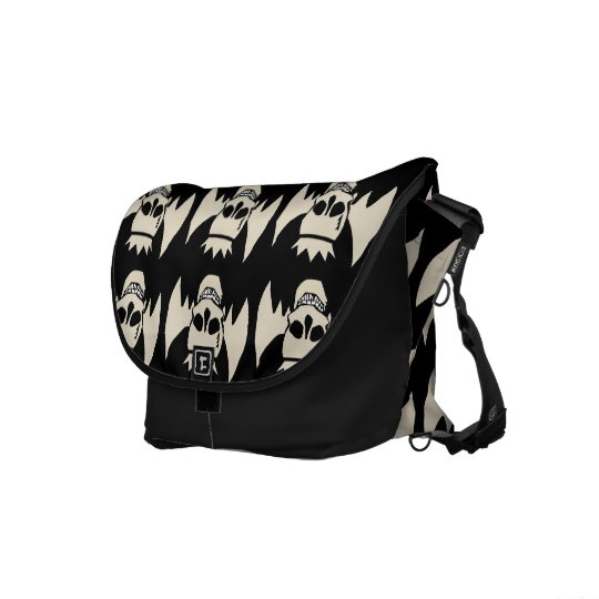 Winged Skull with Crown Messenger Bag