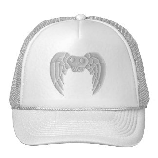 winged slull gray, white hat