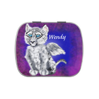 Winged  Snow Leopard Candy Tin