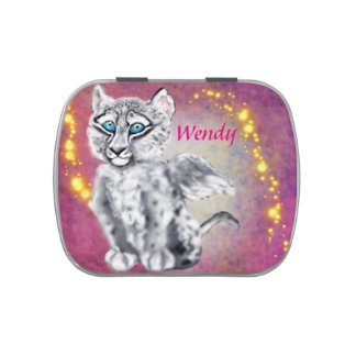 Winged  Snow Leopard Jelly Belly Candy Tin