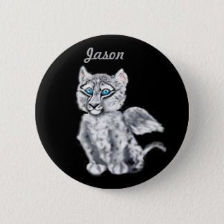 Winged  Snow Leopard Pinback Button