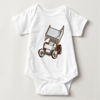 Winged Sprint Car White Colored Baby Bodysuit