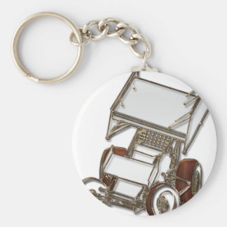 Winged Sprint Car White Colored Keychain